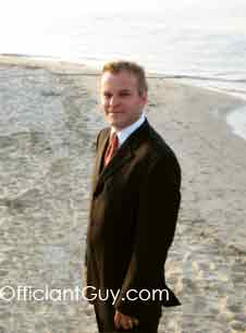 wedding officiant Chris Robinson, at a beach wedding.