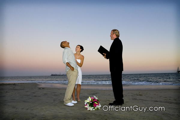 officiant, private beach wedding, los angeles, wedding officiant