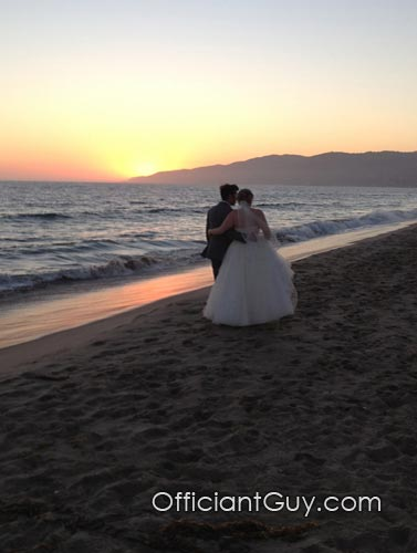 Sunset Wedding - Couple Walking on Beach, Malibu