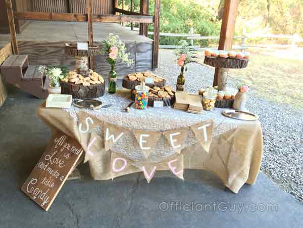 An enticing table of treats at an LA county marriage