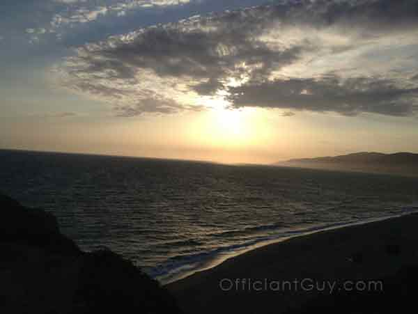 this los angeles wedding officiant sees many sunset beach wedding southern california