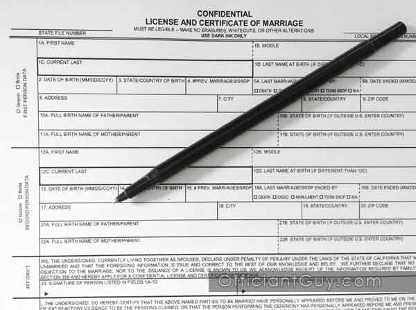 Copy Of Marriage License Request Form For A Confidential