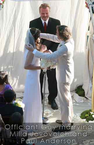 los angeles wedding officiant for milla jovovich and paul anderson