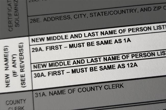 name change on California marriage license