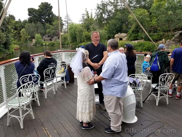 Disneyland destination wedding on the Mark Twain