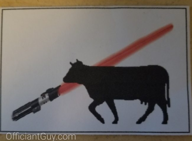 wedding meal choice ticket with light saber and beef option cow silhouette