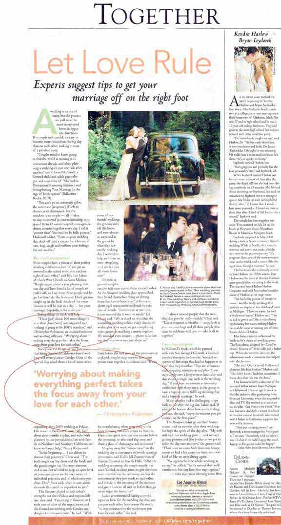 los angeles times article about weddings in Los Angeles with officiant guy