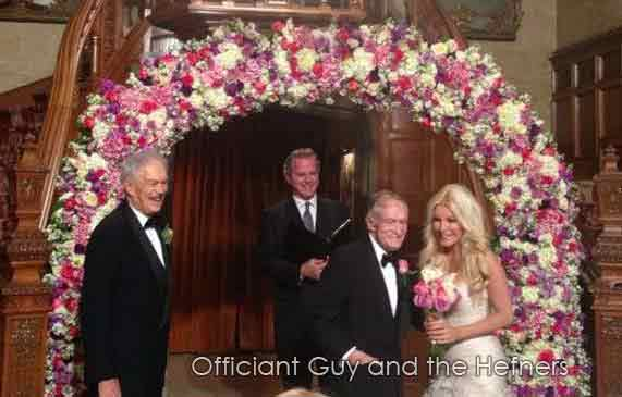 Hugh Hefner's wedding officiant in Los Angeles was Chris Robinson, known as the Officiant Guy. The Playboy mansion wedding was featured on the Playboy channel