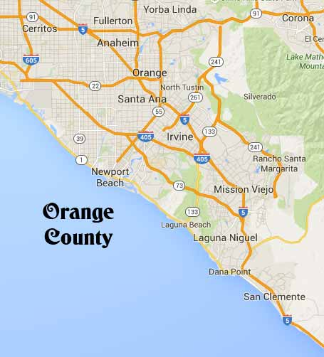 Orange County wedding ceremony, OC California map