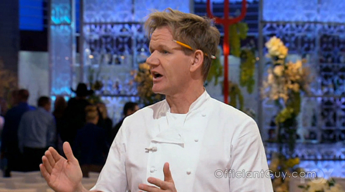 Chef Gordon Ramsay on Hell's Kitchen with the wedding ceremony set in the background. Officiant Guy was the wedding officiant for the television wedding ceremony