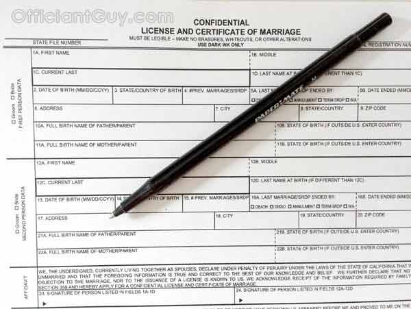 Wedding Officiant California Marriage License La County