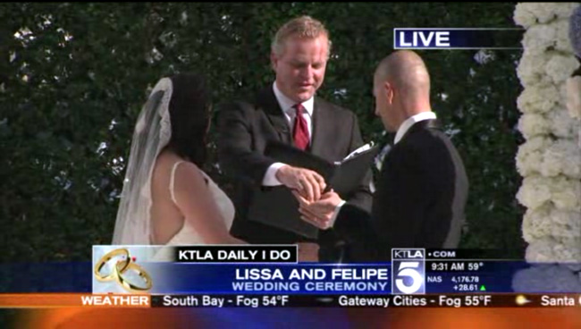 This wedding officiant officiated 2 wedding ceremonies on KTLA Week of Weddings for Valentine's Day week