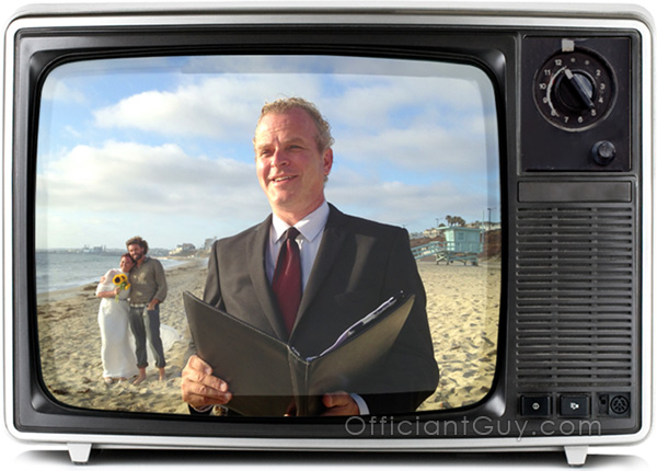 a TV set with the Officiant Guy just after he helped 2 people get married in California