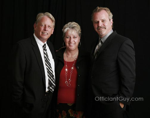 officiant with wedding couple who wanted a short wedding vow