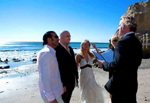 Malibu Beach Wedding Being Officiated By Officiant Guy
