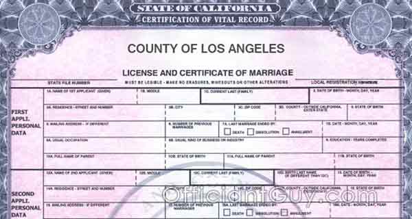 copy of marriage license California